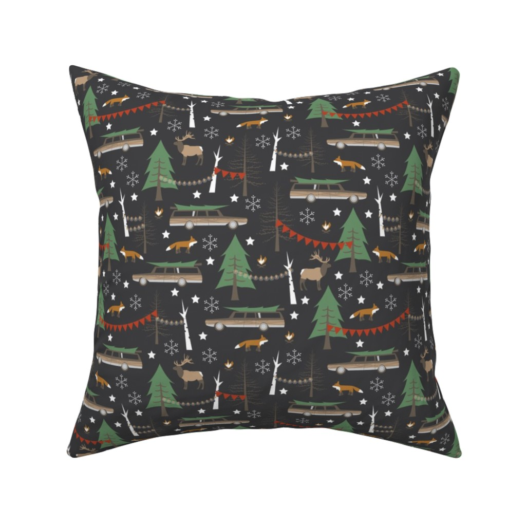 Catalan Throw Pillow featuring Station Wagon Christmas - Small Scale by papercanoefabricshop