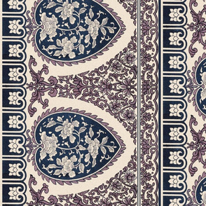 Summer Motif ~  Border Print ~ China Cream Faded Rose