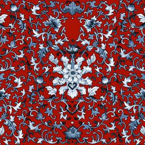 Lacquer Damask  ~ Blue and White on Turkey Red
