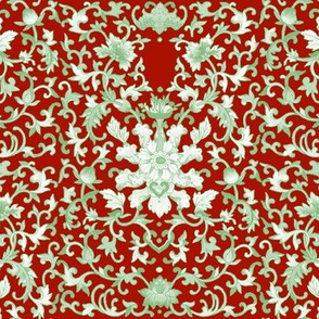 Lacquer Damask  ~ Jade on Turkey Red