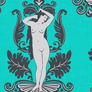 Venus Damask Gray on Turquoise