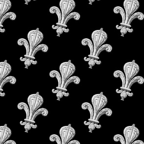 Fleur~de~Lys ~ Tipped Black and White