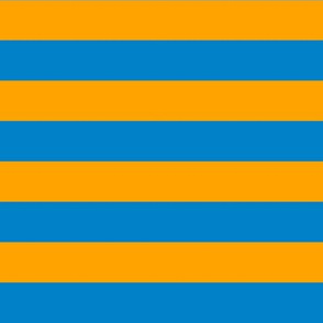Horizontal Stripes - 1 inch wide - Blue (#0081C8) & Orange (#FFA300)