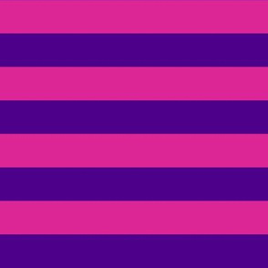 Horizontal Stripes - 1 inch wide - Purple (#4D008A) & Pink (#DD2695)