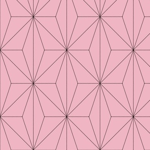 Demon-Slaying Nezuko Big Asa-no-Ha Pattern Dashed Sashiko Lines on Pink