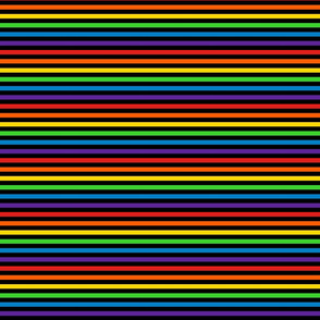Stripes - Horizontal - 0.25 inch (0.635cm) - Black & Rainbow
