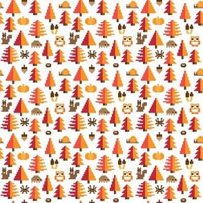 Autumn pixel forest