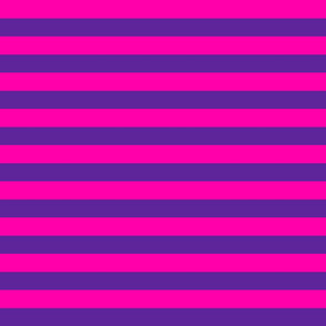 Stripes - Horizontal - 1 inch (2.54cm) - Pink (#FF00AA) and Dark Purple (#5E259B)