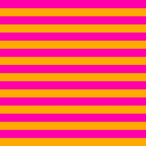Stripes - Horizontal - 1 inch (2.54cm) - Pink (#FF00AA) and Light Orange (#FFAA00)