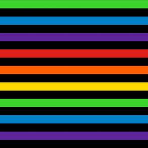 Stripes - Horizontal - 1 inch (2.54cm) - Rainbow on Black