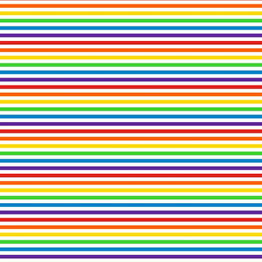 Stripes - Horizontal - 0.25 inch (0.635cm) - White & Rainbow