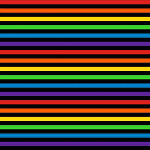 Stripes - Horizontal - 0.5 inch (1.27cm) - Black & Rainbow