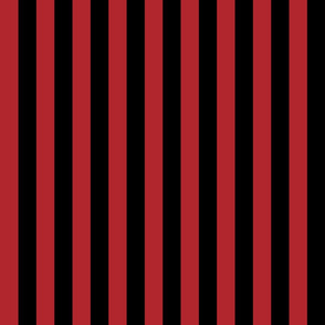 Stripes - Vertical - 1 inch (2.54cm) - Dark Red (#B1252C) & Black