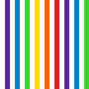 Stripes - Vertical - 1 inch (2.54cm) - Rainbow on White