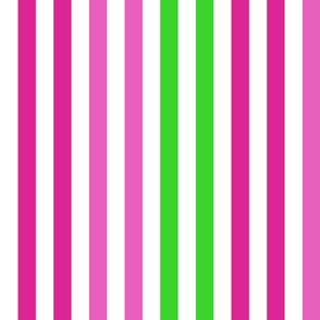 Stripes - Vertical - 1 inch (2.54cm) - Green (#3AD42D), Dark Pink (#E95FBE) & Pink (#DD2695) on White (#FFFFFF)