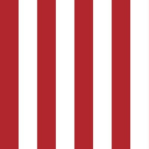 Stripes - Vertical - 1 inch (2.54cm) - Dark Red (#B1252C) & White (#FFFFFF)