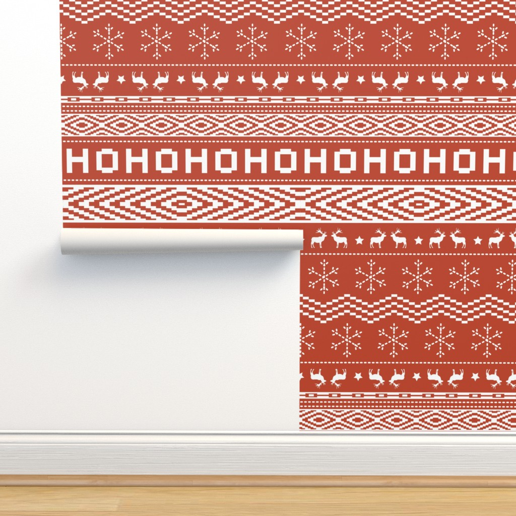 Isobar Durable Wallpaper featuring Ugly Christmas Sweater - Red (Small Scale) by papercanoefabricshop