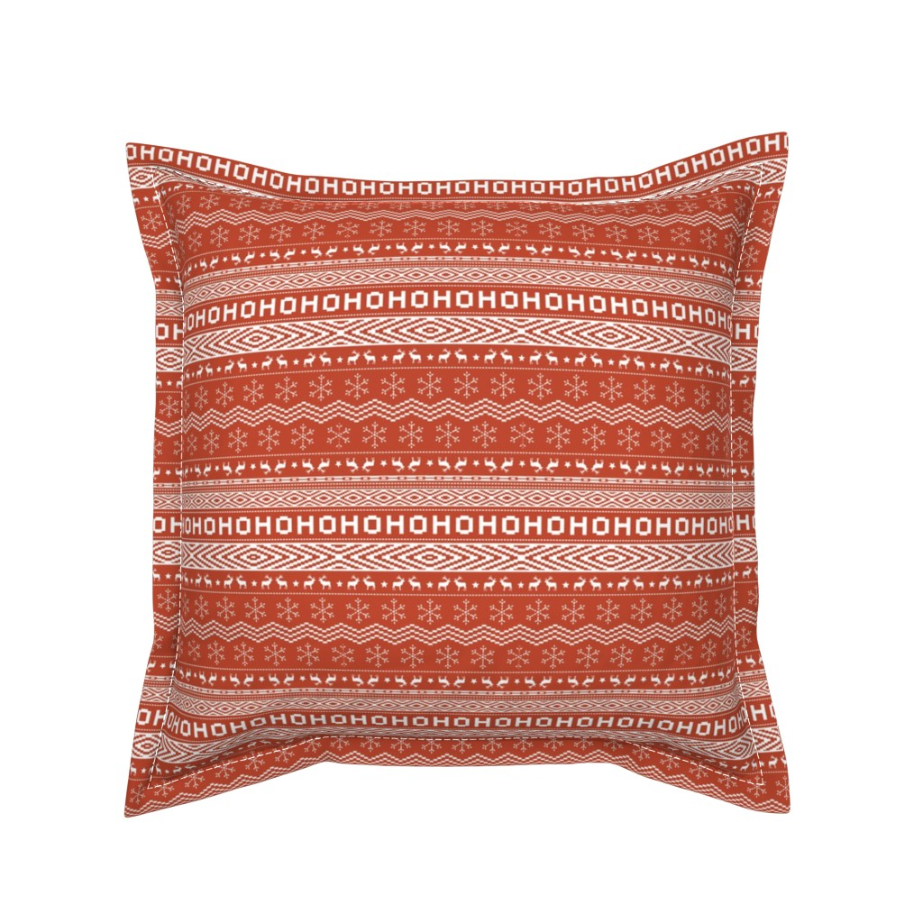 Serama Throw Pillow featuring Ugly Christmas Sweater - Red (Small Scale) by papercanoefabricshop