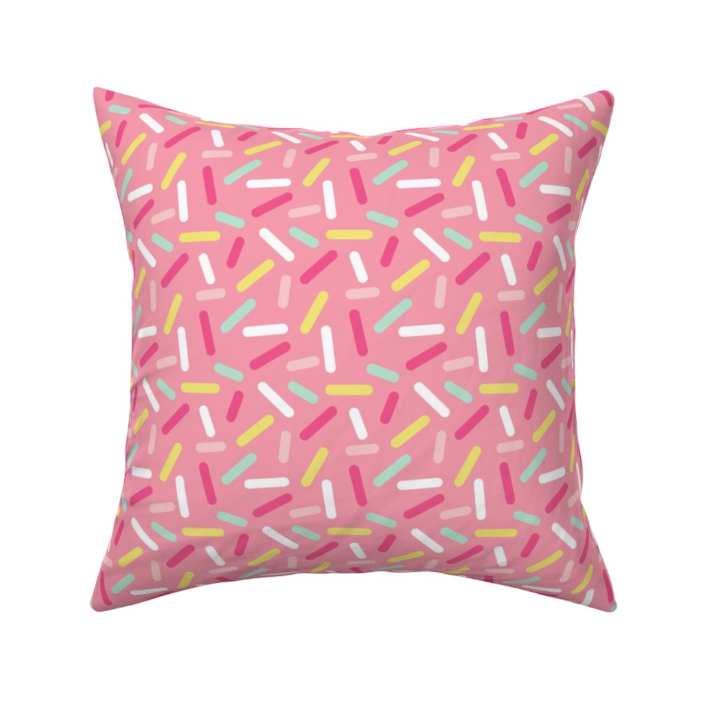 Catalan Throw Pillow featuring Donut Pink Sprinkles by heatherhightdesign