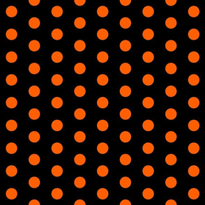 Polka Dots - 1 inch (2.54cm) - Orange (#ff5f00) on Black (#000000)