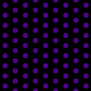 Polka Dots - 1 inch (2.54cm) - Dark Purple  (# 4d008a) on Black (#000000)