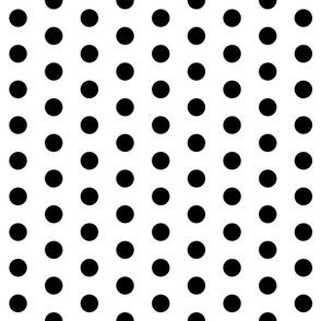 Polka Dots - 1 inch (2.54cm) - Black (#000000) on White (#FFFFFF)