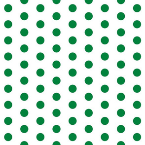 Polka Dots - 1 inch (2.54cm) - Light Green (#00813C) on White (FFFFF)