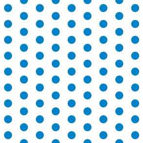 Polka Dots - 1 inch (2.54cm) - Light Blue (#0081C8) on White (FFFFF)