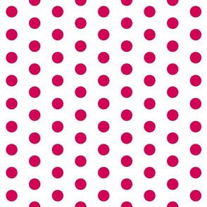 Polka Dots - 1 inch (2.54cm) - Dark Pink (#D30053) on White (FFFFF)