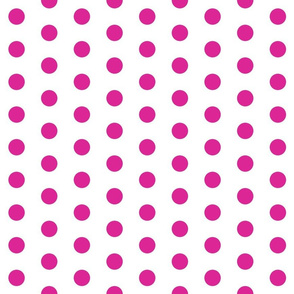 Polka Dots - 1 inch (2.54cm) - Pink (#DD2695) on White (FFFFF)