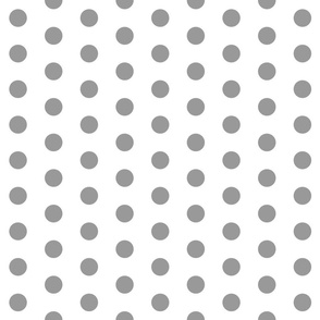Polka Dots - 1 inch (2.54cm) - Grey (#99999A) on White (FFFFF)