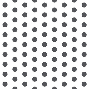 Polka Dots - 1 inch (2.54cm) - Dark Grey (#545559) on White (FFFFF)