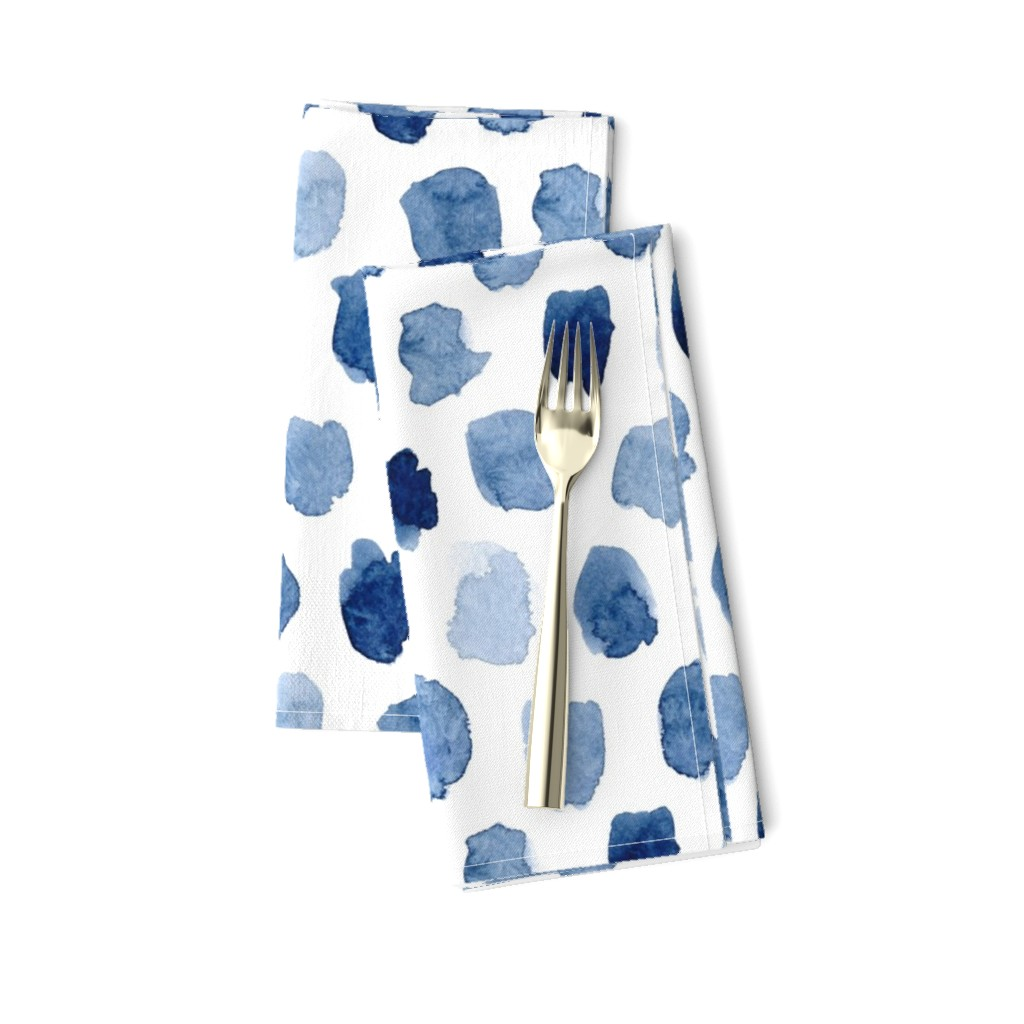 Amarela Dinner Napkins featuring Watercolor Abstract Shapes in Blue by dinaramay