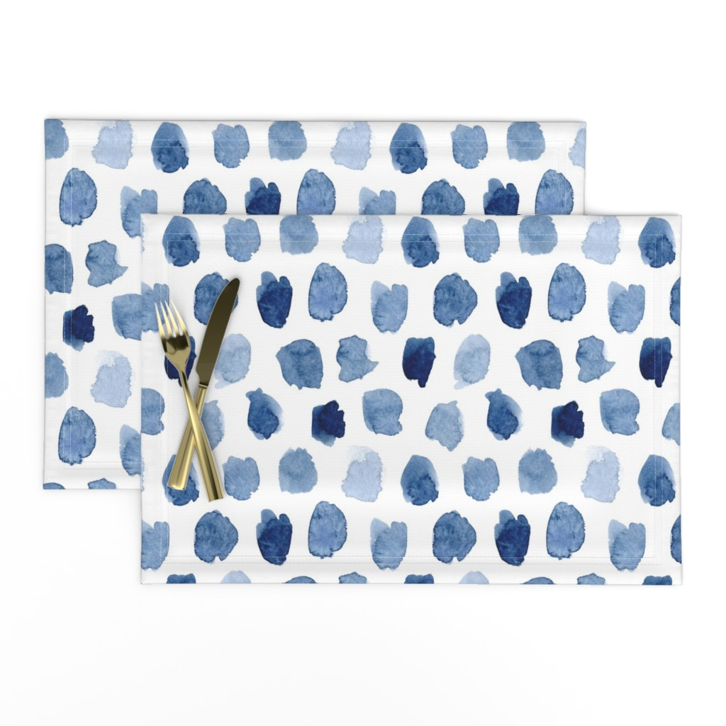 Lamona Cloth Placemats featuring Watercolor Abstract Shapes in Blue by dinaramay