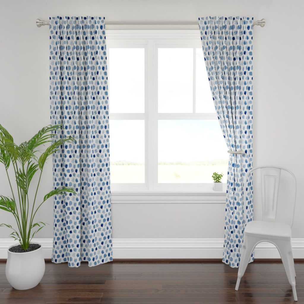 Plymouth Curtain Panel featuring Watercolor Abstract Shapes in Blue by dinaramay