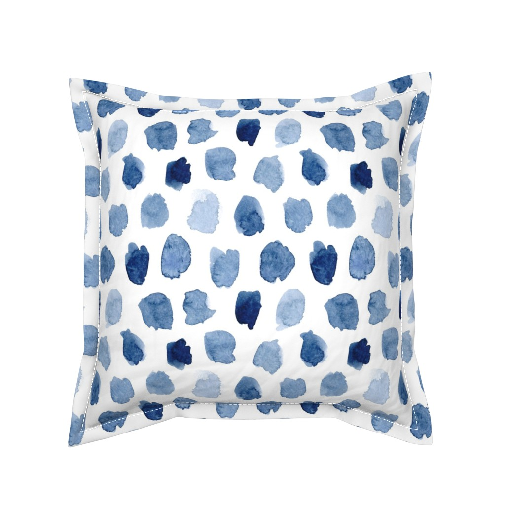 Serama Throw Pillow featuring Watercolor Abstract Shapes in Blue by dinaramay