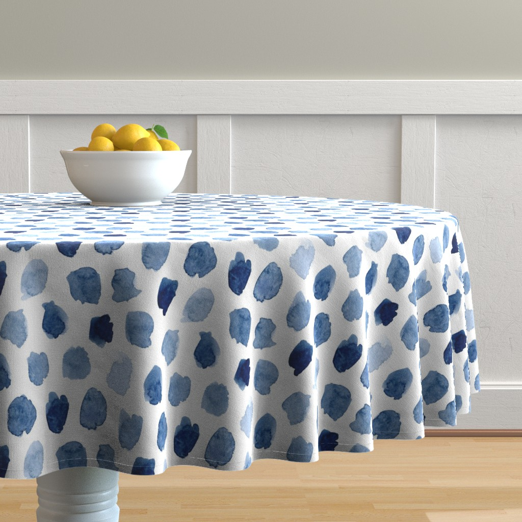 Malay Round Tablecloth featuring Watercolor Abstract Shapes in Blue by dinaramay