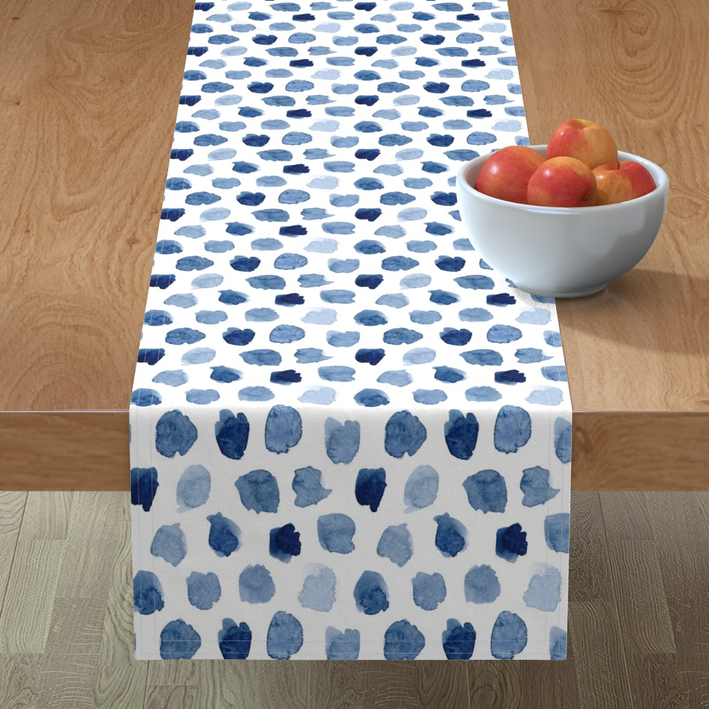 Minorca Table Runner featuring Watercolor Abstract Shapes in Blue by dinaramay