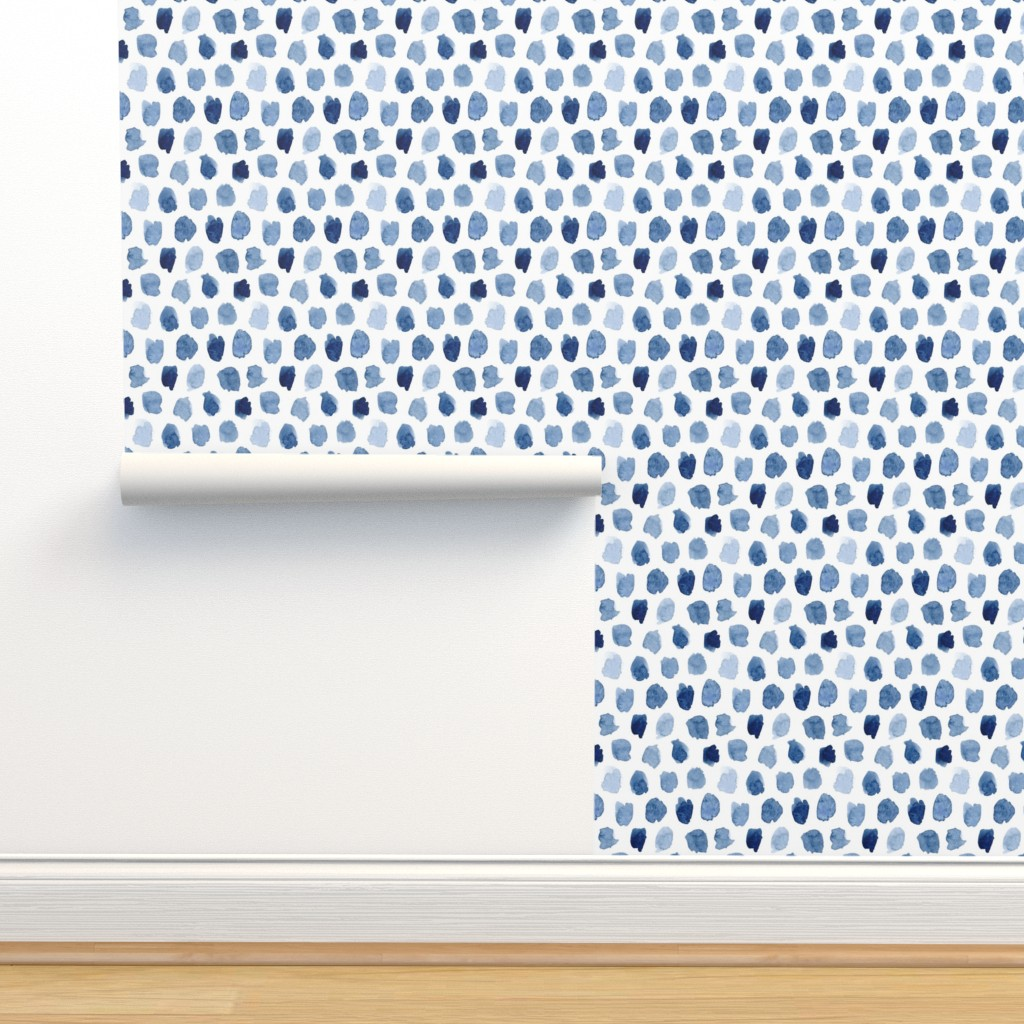 Isobar Durable Wallpaper featuring Watercolor Abstract Shapes in Blue by dinaramay