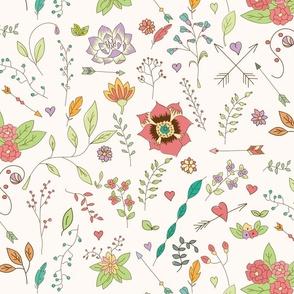 Bohemian hand drawn flowers