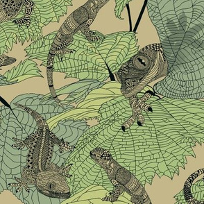Luverly_ d_lizards_on_painted_leaves