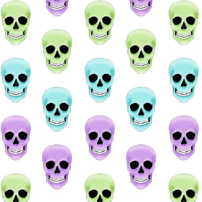 white background skulls