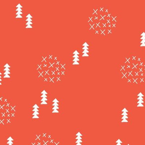 Scandinavian style christmas trees geometric woodland print in white and coral