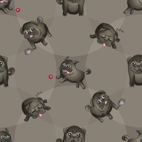 Pugs! (Black Pugs on Gray)