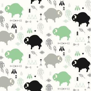 Cute buffaloes and native American symbols