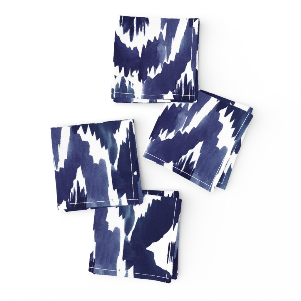 Frizzle Cocktail Napkins featuring Ikat Diamonds Indigo Blue by crystal_walen