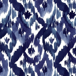 Ikat Diamonds Indigo Blue