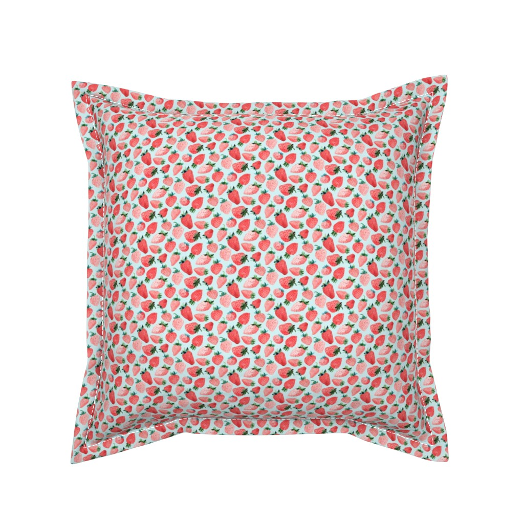 Serama Throw Pillow featuring Blue Strawberries Small Scale by Angel Gerardo by angelger28