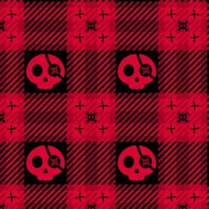 Pirate Skulls Plaid 112 Black Red