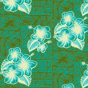 Old School Hilo, hibiscus, blue